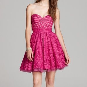 🆕 Aqua Lace and Mesh Strapless Dress in Fuchsia